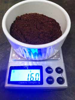 weighing out the coffee